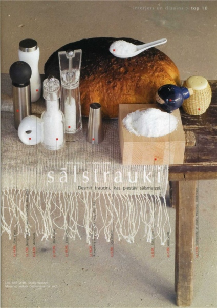 Style for page on the theme - Salt Cellars and shakers. Photo Gvido Kajons